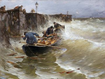 Gefährliche Anlandung der Holzfischer am Bodensee, JOSEPH WOPFNER, Ca. 1885-1890