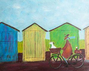 Eenzame man op de fiets