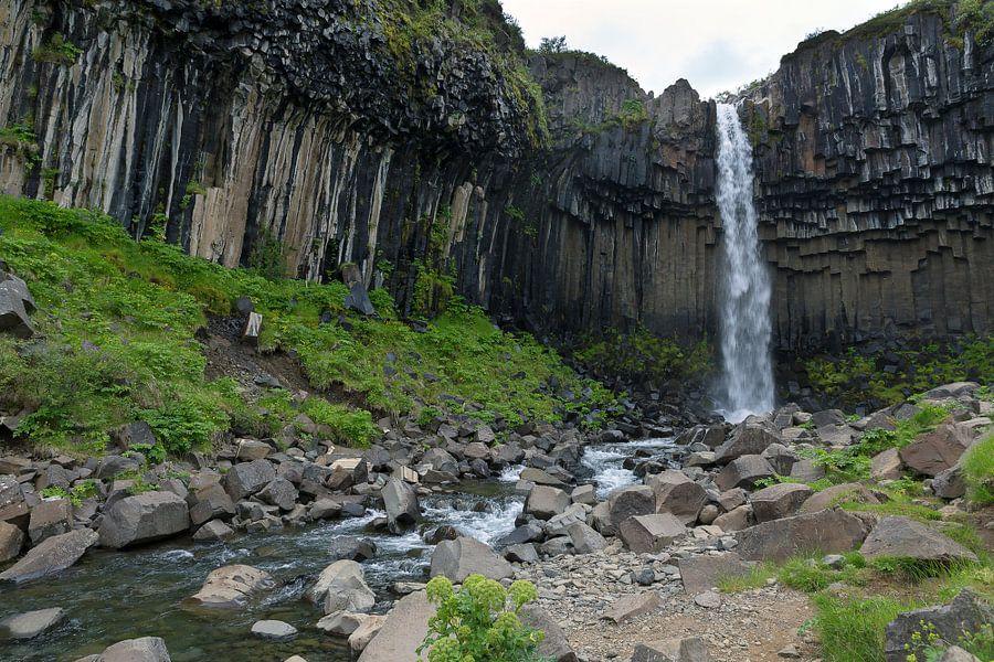 Svartifoss de zwarte waterval van Ab Wubben