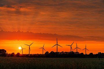 Sonnenuntergang und Windmühlen von Adelheid Smitt