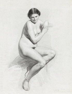 Thomas Simon Cool, Zittend vrouwelijk naakt (1859) van Atelier Liesjes