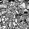 Doodle Kunst - schwarz und weiß Sommer Thema von Emiel de Lange Miniaturansicht