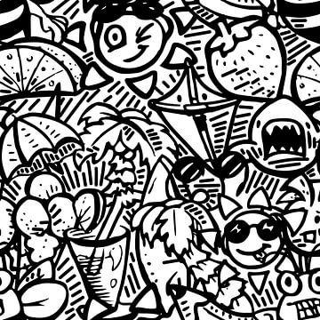 Doodle art - zwart wit zomer thema van Emiel de Lange