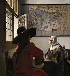 Johannes Vermeer. De soldaat en het lachende meisje