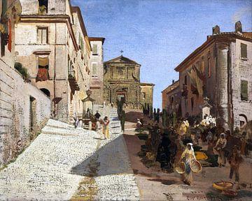 Ansicht von Genzano mit der Kirche Santa Maria della Cima, OSWALD ACHENBACH, 1885 von Atelier Liesjes