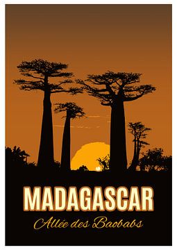 Vintage Poster,  Allée des Baobabs, Madagascar van Discover Dutch Nature