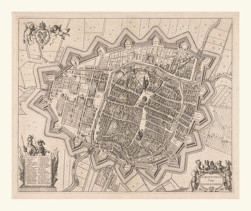 Kaart van Groningen Stad uit ca 1657, met wit kader van Gert Hilbink