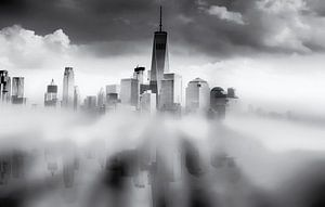 Reflectie van Manhattan New York City