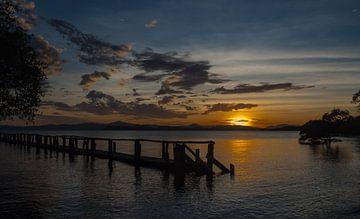 Gerüst mit Sonnenuntergang von Karin vd Waal