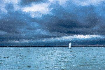 Segeln auf der Westerschelde unter dunklem Wolkenhimmel (Gemälde) von Art by Jeronimo