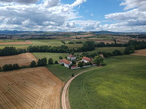 Van boven af zicht op de Auvergne