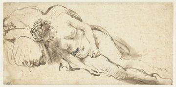 Nackte Frau auf einem Kissen, Rembrandt van Rijn
