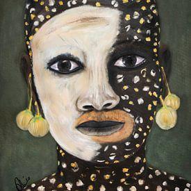 Schilderij van Afrikaans meisje met huidbeschildering in olieverf van Marianne van der Zee