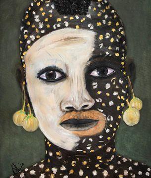 Gemälde eines afrikanischen Mädchens mit Hautbemalung in Ölfarbe von Marianne van der Zee