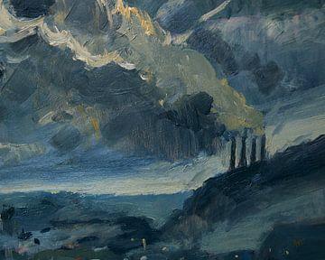 ENCI schoorstenen bij maanlicht van Nop Briex