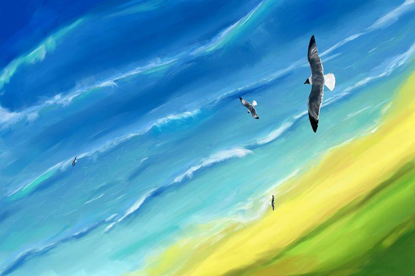 Vogel uitzicht boven zee van Jan Brons