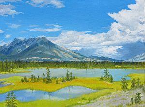 Jasper river,  Icefields Parkway, Canada. acrylschilderij van Marlies Huijzer