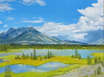 Jasper river,  Icefields Parkway, Canada. acrylschilderij van Marlies Huijzer van