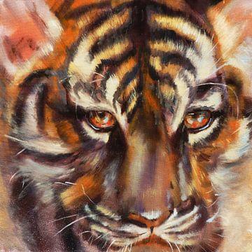 3. Olieverfschilderij, tijger. van