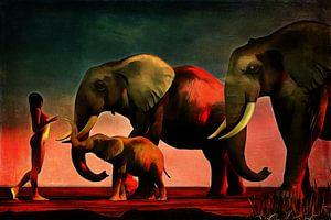 Olifanten ontmoeten naakte vrouw