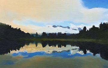 Landschap - Nieuw-Zeeland - Mount Cook - Olieverf Schilderij met Etsen