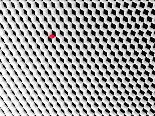 Zwart wit kubussen met een rode kubus van Jan Brons