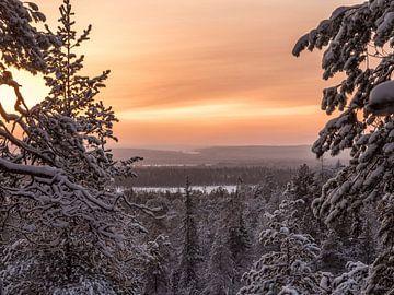 Schemer in Fins Lapland van John Trap