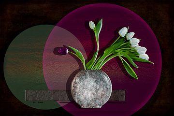 White tulips discriminating a purple one van Henny Verbeek