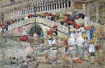 Maurice Prendergast, Paraplus in de regen - 1899 van Atelier Liesjes