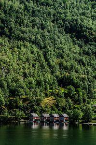 kleine huisjes in Flåm