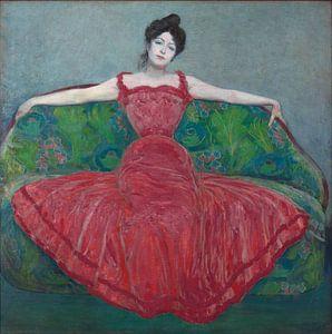 Dame in fuchsiafarbenem Kleid, Max Kurzweil