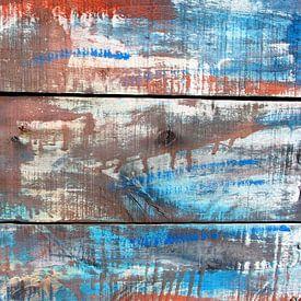 Abstract kleurenspel op hout nr. 1 /tweeluik van Inge Hogenbijl