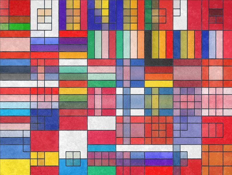 Europese vlaggen glas in lood van Frans Blok