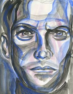 Blauwe man