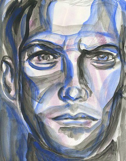 Blauwe man van Eva van den Hamsvoort