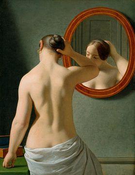 Junge Frau vor einem Spiegel - Christoffer Wilhelm Eckersberg
