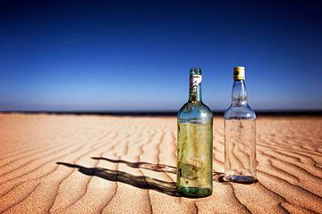 Lege flessen op een zonnig strand...... van Wim Schuurmans
