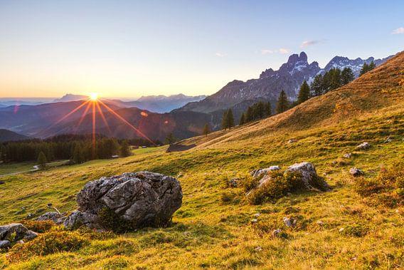 Zonsondergang op de alm
