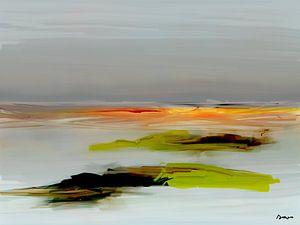 Abstractie, Landschap Zee Noord. van SydWyn Art