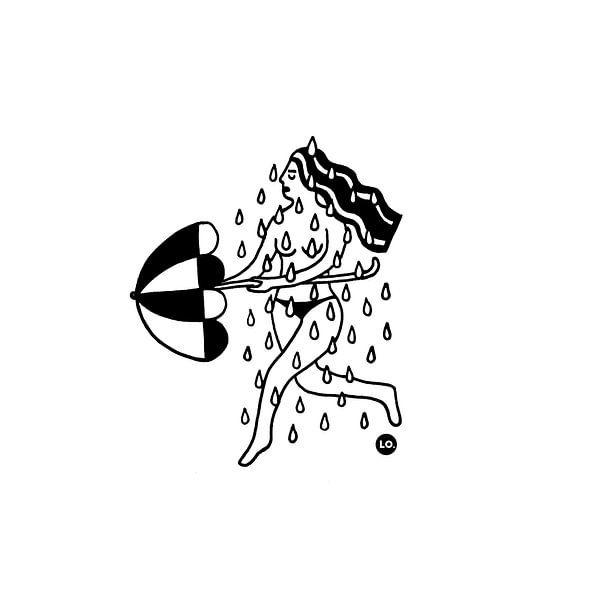 Naakte vrouw in regen met paraplu