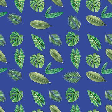 Naadloos patroon van botanische bladeren op blauw van Ivonne Wierink