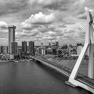 Erasmusbrug Rotterdam (vierkant - zwart-wit/zilver) van Rick Van der Poorten