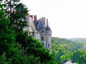 Frans kasteel in de avondzon
