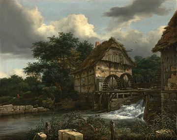 Jacob van Ruisdael - Zwei Wassermühlen und eine offene Schleuse von 1000 Schilderijen