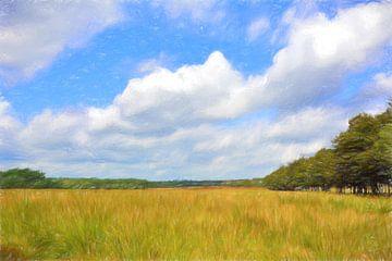 Tekening van grasland  van Lida Bruinen