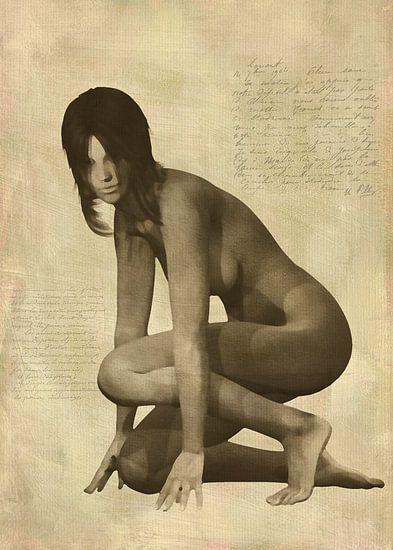 Erotisch naakt - Naakte vrouw knielend