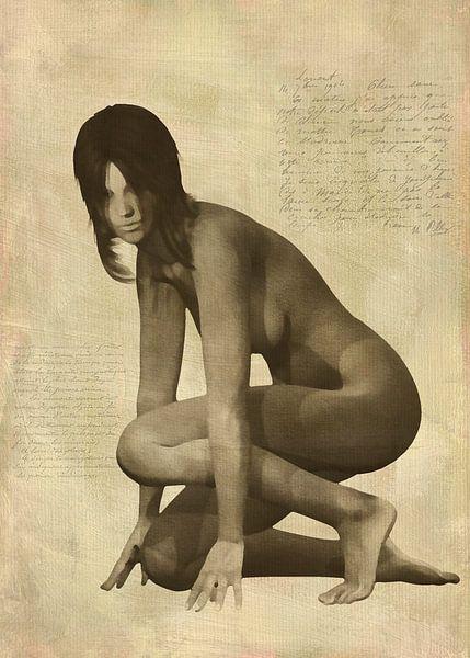 Erotisch naakt - Naakte vrouw knielend van Jan Keteleer