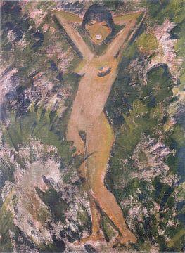 Stehender Mädchenakt im Grünen, Otto Mueller - ca1929