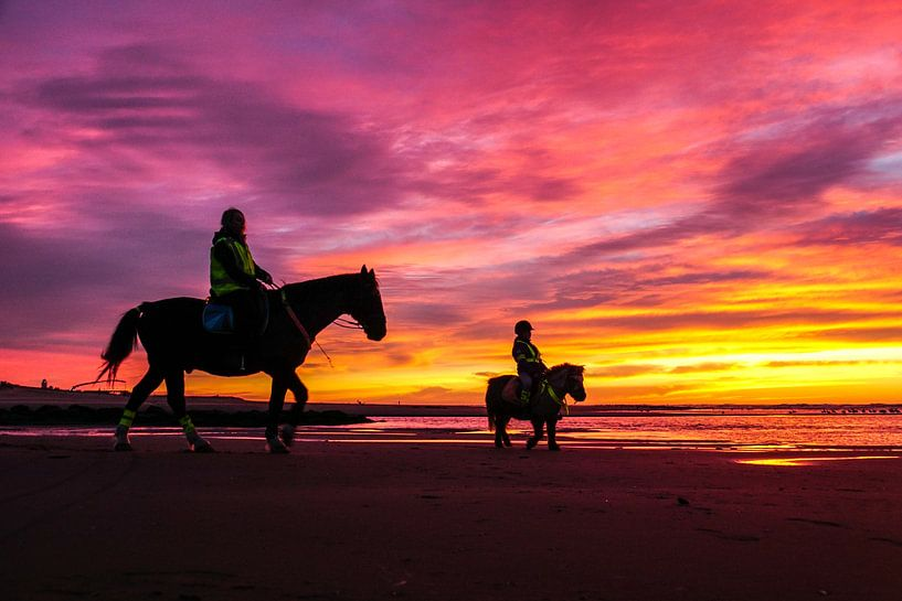 Zon, zee en strand en paarden. van Dirk van Egmond