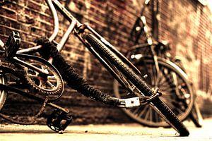 Sepia fietsen in binnenstad van